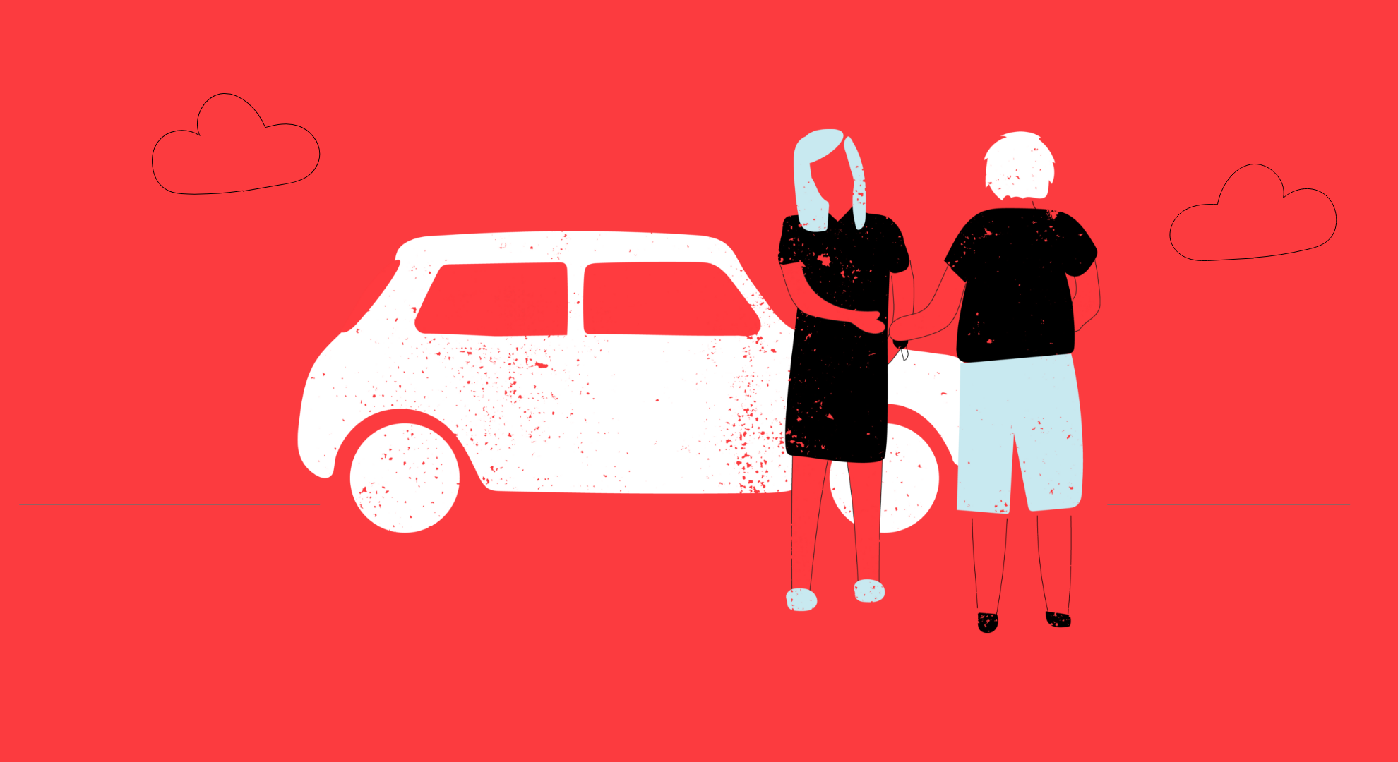 Illustration of two people exchanging car keys
