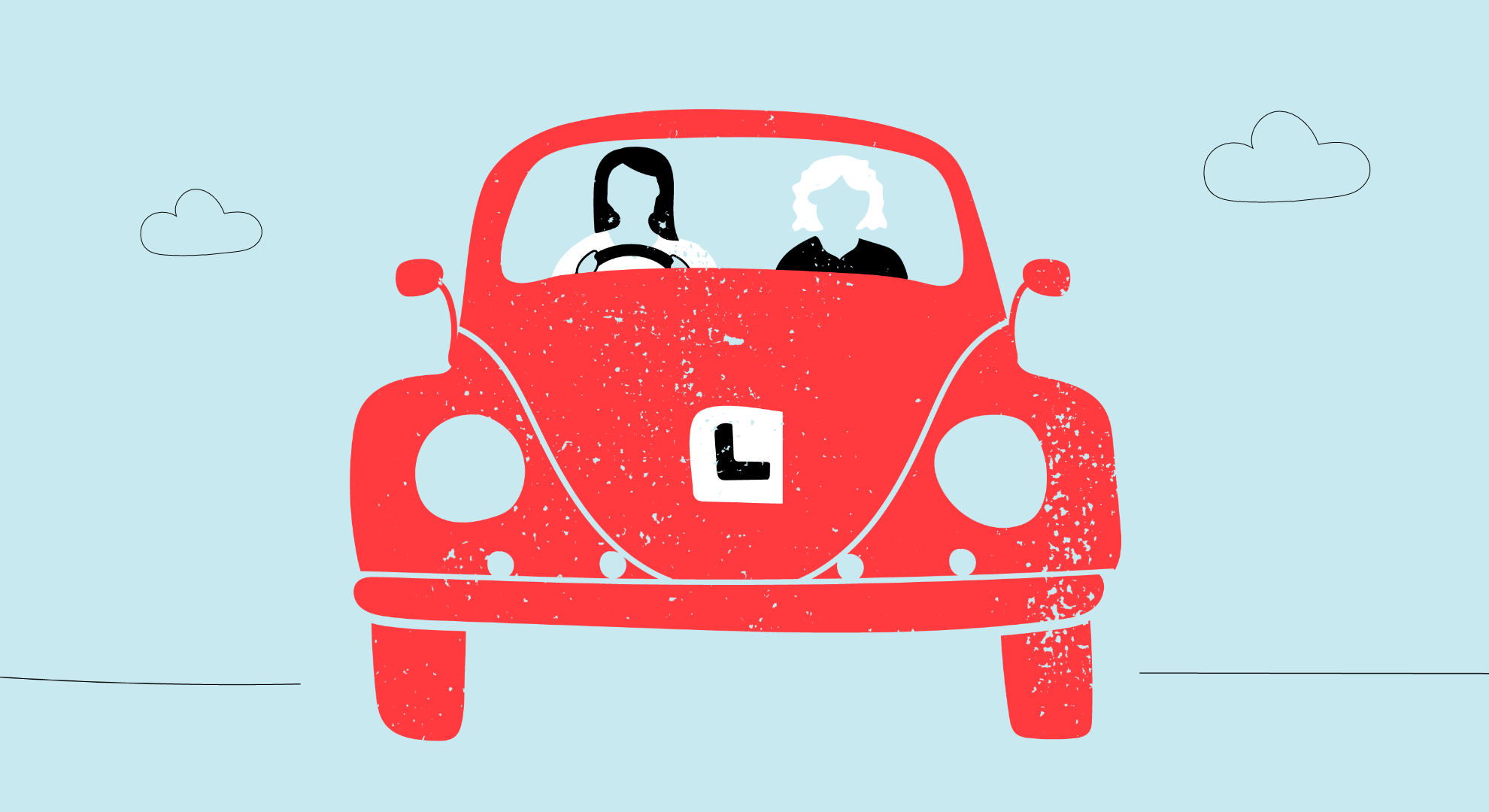Illustration of two people sitting in a learner driver car