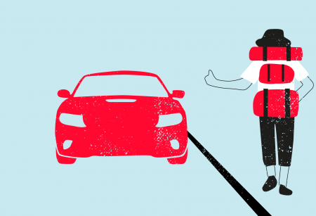 Illustration of person trying to hitch a ride